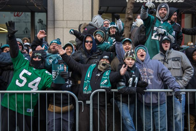 Over a million fans flocked to Center City and stood in the freezing temperatures to cheer on their winning Eagles for the Super Bowl Champions parade in Philadelphia February 8, 2018. (Emily Cohen for WHYY)