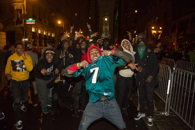 Fans celebrate in the streets of Philadelphia after the Eagles win the Super Bowl, February 4th 2018.