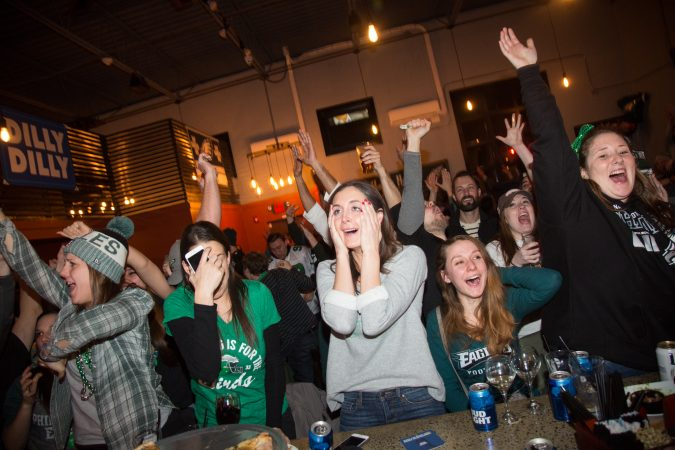 Fans at Chick's bar in South Philadelphia freak out and stress out after the Eagles score during the Super Bowl in Philadelphia February 4th 2018.
