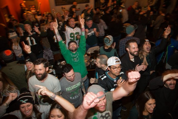 Fans at Chick's bar in South Philadelphia freak out as the Philadelphia Eagles win the Super Bowl in Philadelphia February 4th 2018.