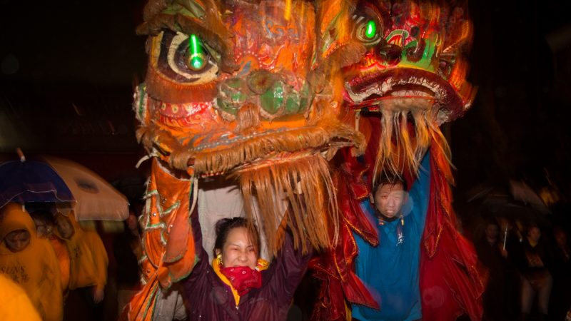 The Philly Suns celebrate the Chinese New Year in Phildelphia's Chinatown with lion dances on February 15, 2018. (Emily Cohen for WHYY)