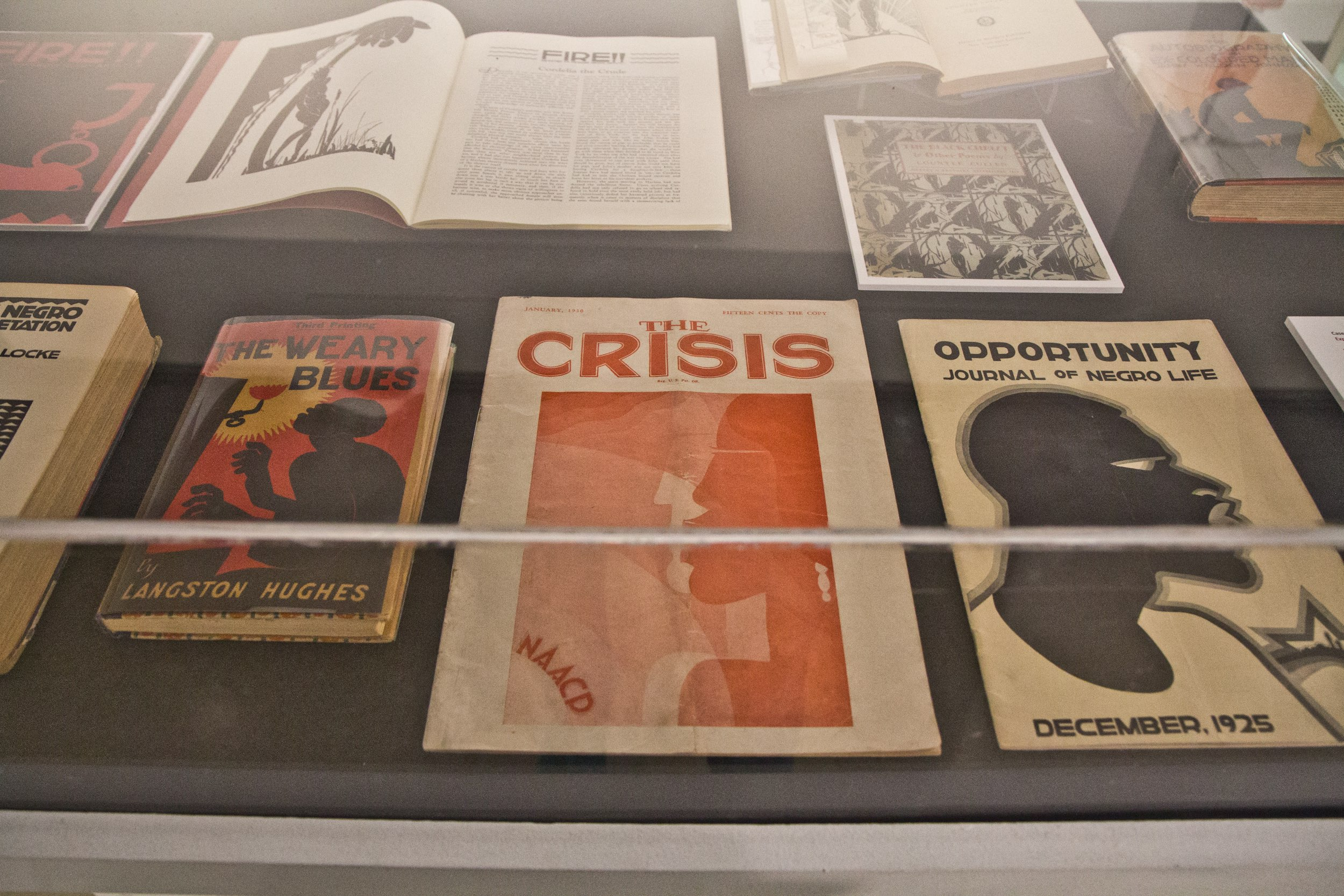 A display case at the African American Museum in Philadelphia shows various published items