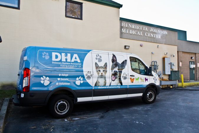 On the first Saturday of every month, the Delaware Human association hosts a free clinic for pets at the Henriette Johnson Medical Center in Wilmington. (Kimberly Paynter/WHYY)