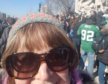 Donna Greenberg is shown at the Eagles Parade on the Benjamin Franklin Parkway