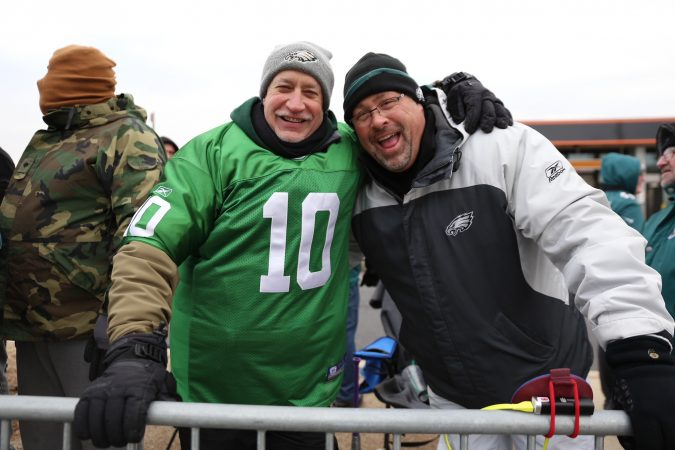 Robbie Stephens and Chris Bauer await the Eagles Super Bowl Championship parade