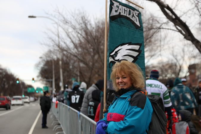 Linda Liszkiewicz from West Chester awaits the Philadelphia Eagles Super Bowl LII Championship parade