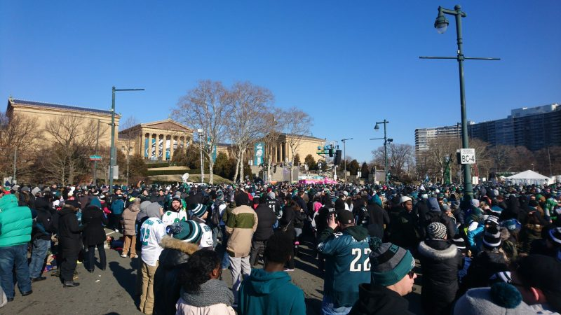 Fans gather near the Philadelphia Museum of Art about an hour before the Eagles Super Bowl Championship parade begins.