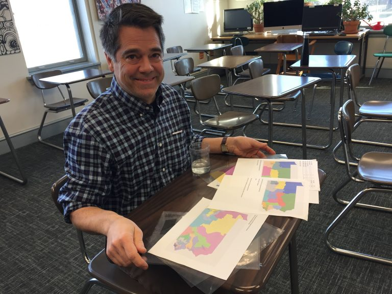Teacher Jon Kimmel in his classroom at Westtown School in Chester County, Pa. (Avi Wolfman-Arent/WHYY)