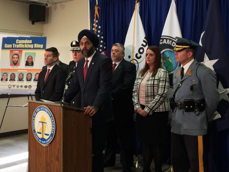New Jersey Attorney General Gurbir Grewal announces charges against seven men for allegedly trafficking guns from Ohio to sell illegally in Camden, N.J.  (Joe Hernandez/WHYY)