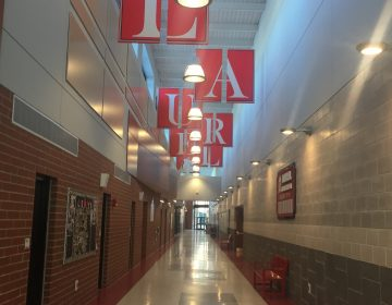 Laurel Middle School, which shares space with the high school in a sprawling building that opened during the 2014-15 school year, has improved dramatically since being declared a Priority school and threatened with possible closure. (Cris Barrish/WHYY)