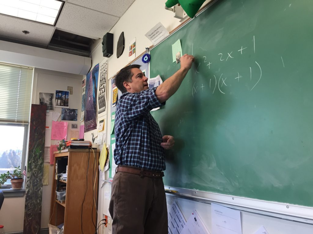 Teacher Jon Kimmel in his classroom
