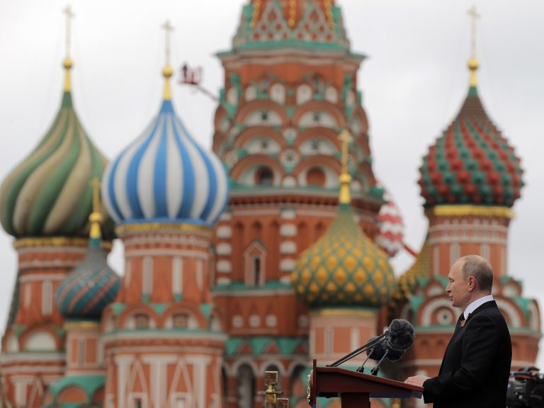 Russian President Vladimir Putin delivers a speech at Red Square in Moscow on May 9, 2017. Russian-backed efforts seen attempting to interfere in U.S. politics appear to be evolving.