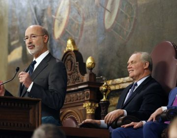 Gov. Tom Wolf, left, gives his budget address at the state Capitol in Harrisburg, Pa., on Tuesday, Feb. 6, 2018. (AP Photo/Chris Knight)