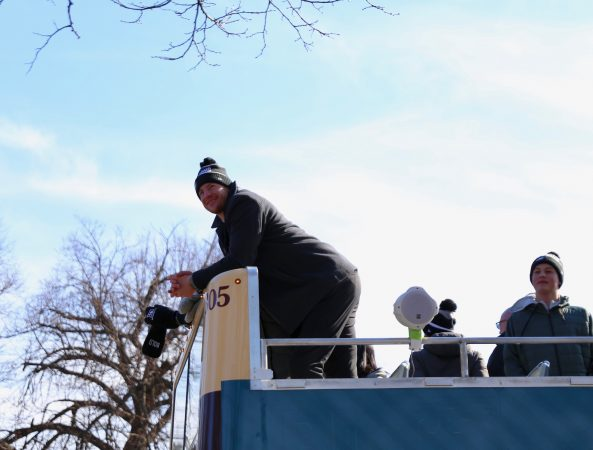 Eagles Quarterback Carson Wentz leads the helm in the Philadelphia Eagles Super Bowl Championship parade on Feb. 8, 2018. (Lindsay Lazarski/WHYY)