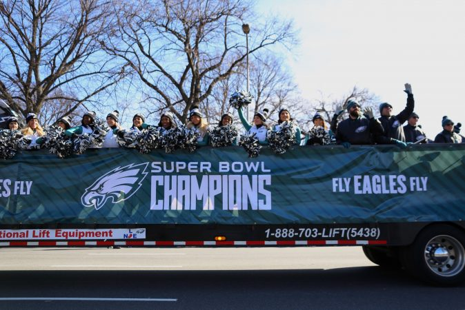 Philadelphia Eagles Cheerleaders at the Super Bowl Championship parade on Broad Street.