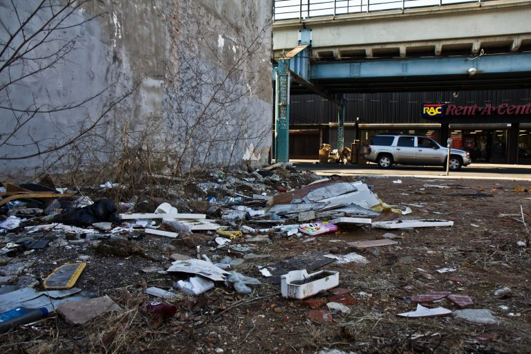 """Kensington Avenue and F streets is rated a """"4"""" on Philadelphia's Litter Index."""
