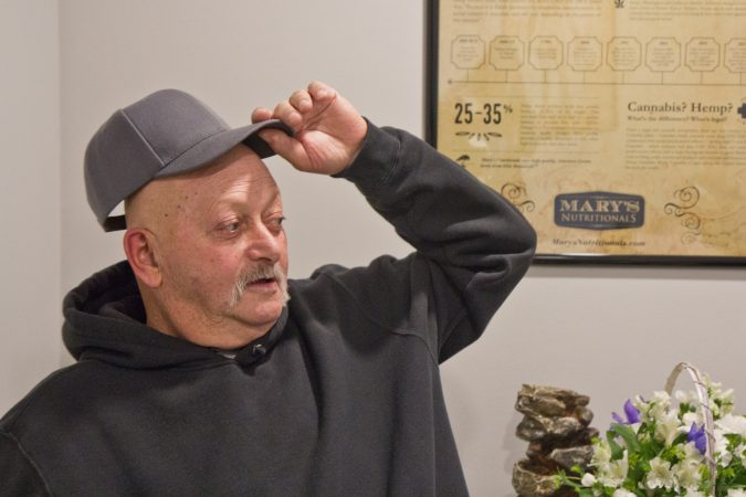 After finishing his last chemotherapy session, Robert Brown attends an appointment at one of Pa.'s first medical marijuana dispensary. (Kimberly Paynter/WHYY)