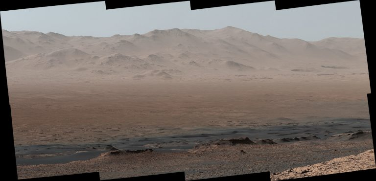 NASA's Mars rover Curiosity took photos from the Vera Rubin Ridge showing the interior and rim of Gale Crater. The full image features 16 photos stitched together. (NASA/JPL-Caltech/MSSS)