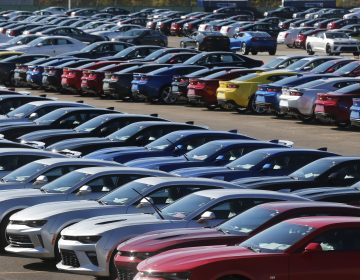 Chevrolet Camaros are lined up at General Motors' Lansing Grand River Assembly Plant in Michigan, in 2015. Automakers in the U.S. say if costs go up as a result of a renegotiated NAFTA, they would be less competitive.