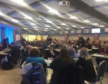 More than 250 people attended a meeting in Dover on Wednesday night to hear and views about a proposed policy to protect the rights of transgender and other students. (Cris Barrish/WHYY)