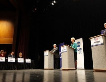 The three GOP gubernatorial hopefuls participated in a live, hourlong debate at Harrisburg Area Community College, moderated by Harrisburg journalists. (Chris Knight/AP Photo)