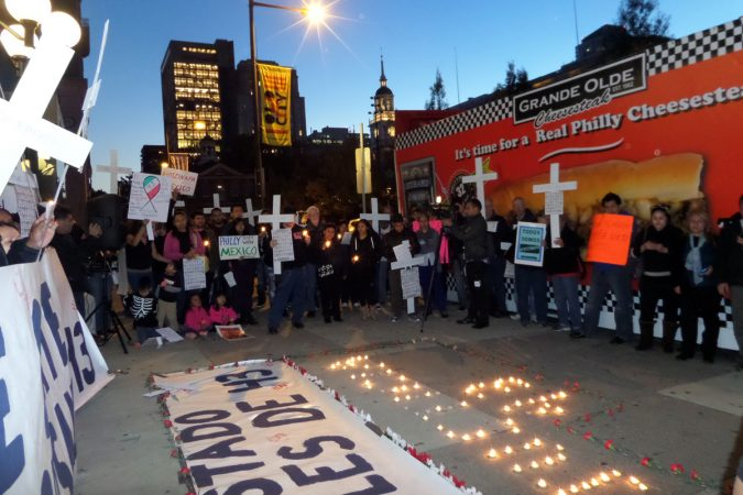 Protesters demonstrate outside of the Mexican Consulate on Independence Mall in Philadelphia on Nov 10, 2014