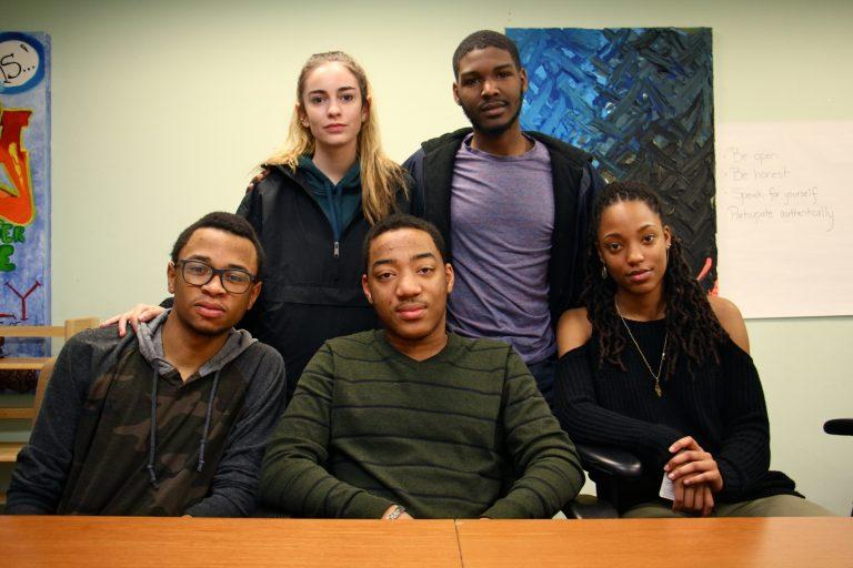 Science Leadership Academy student activists (from left) Tamir Harper, Ella Burrows, Horace Ryans, Kaamil Jones and Zoey Tweh. (
