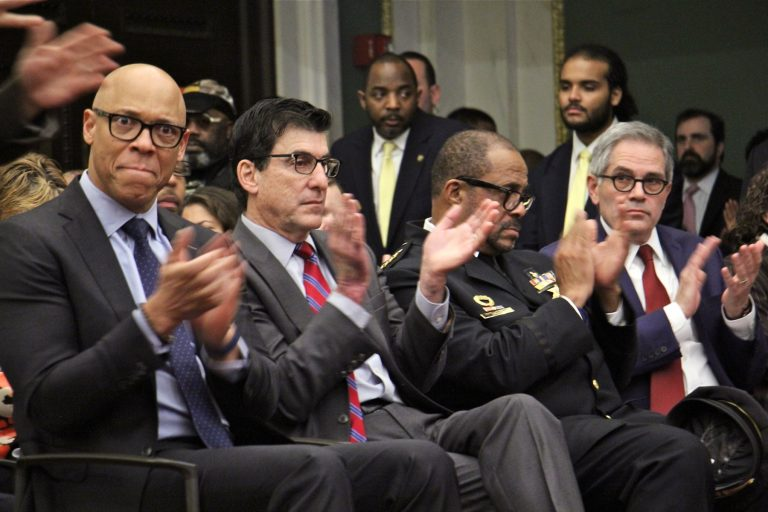 Top administrators (from left) schools Superintendent William Hite, Managing Director Michael DiBerardinis, Sheriff Jewel Williams, and District Attorney Larry Krasner, applaud during Mayor Jim Kenney's budget address. (Emma Lee/WHYY)