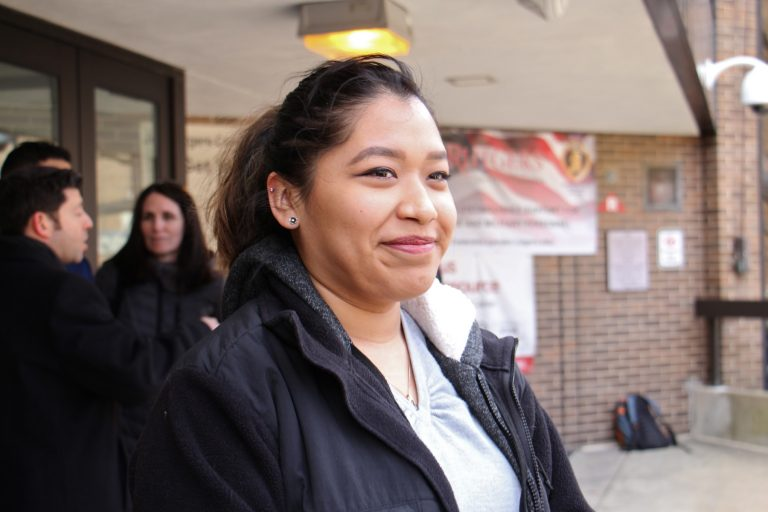Alma Aparicio spoke at a pro-DACA rally at Rutgers Camden, where she is a student. She immigrated to the United States when she was 3 and is able to work and attend school under the DACA (Deferred Action for Childhood Arrivals) program, now threatened by the Trump administration.