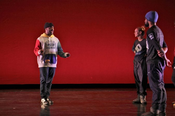 Choreographer Darrell Grand Moultrie works with BalletX dancers during a rehearsal at the Wilma Theater. (Emma Lee/WHYY)