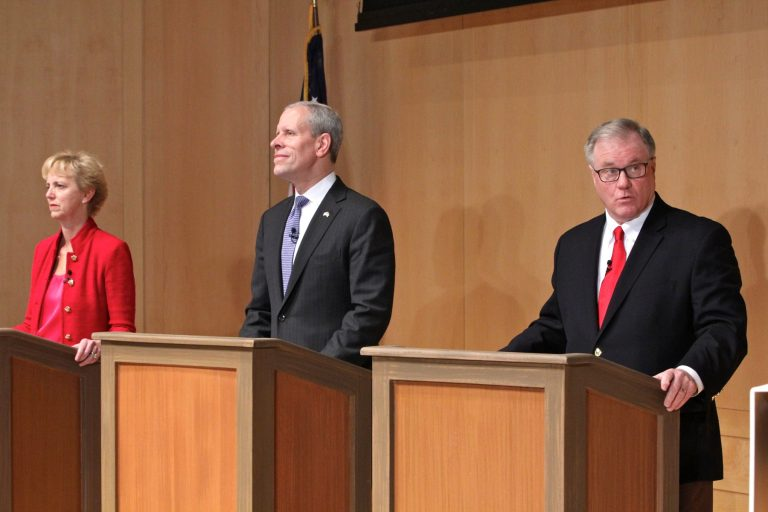 Republican candidates for governor of Pennsylvania (from left), Laura Ellsworth, Paul Mango, and Scott Wagner, participates in a debate at the National Constitution Center. (Emma Lee/WHYY)