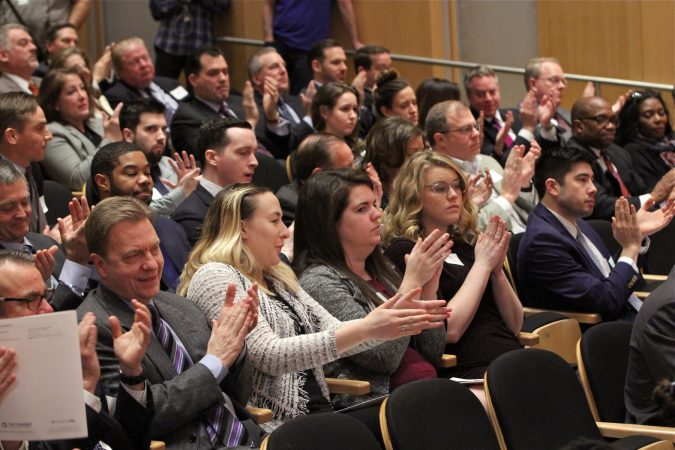 Audience members applaud after a debate of the Republican candidates for governor of Pennsylvania, held at the National Constitution Center and hosted by the Greater Philadelphia Chamber of Commerce. (Emma Lee/WHYY)