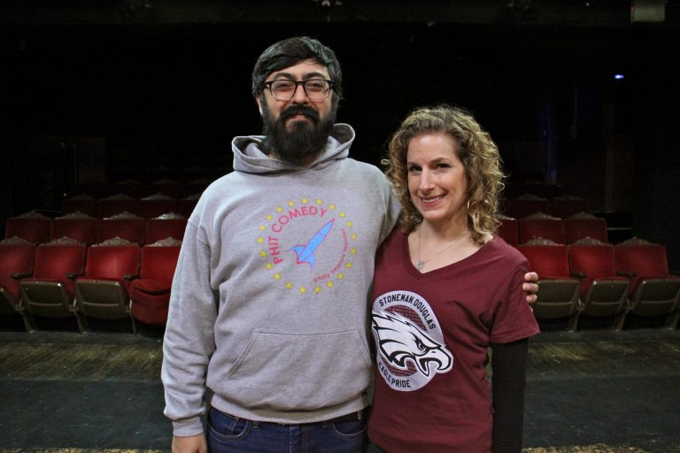 Neil Bardham and Rebecca Salus of Philly Improv Theater promote a comedy show to benefit the victims of the shooting at Marjory Stoneman Douglas High School. Salus, a graduate of Stoneman Douglas, will host