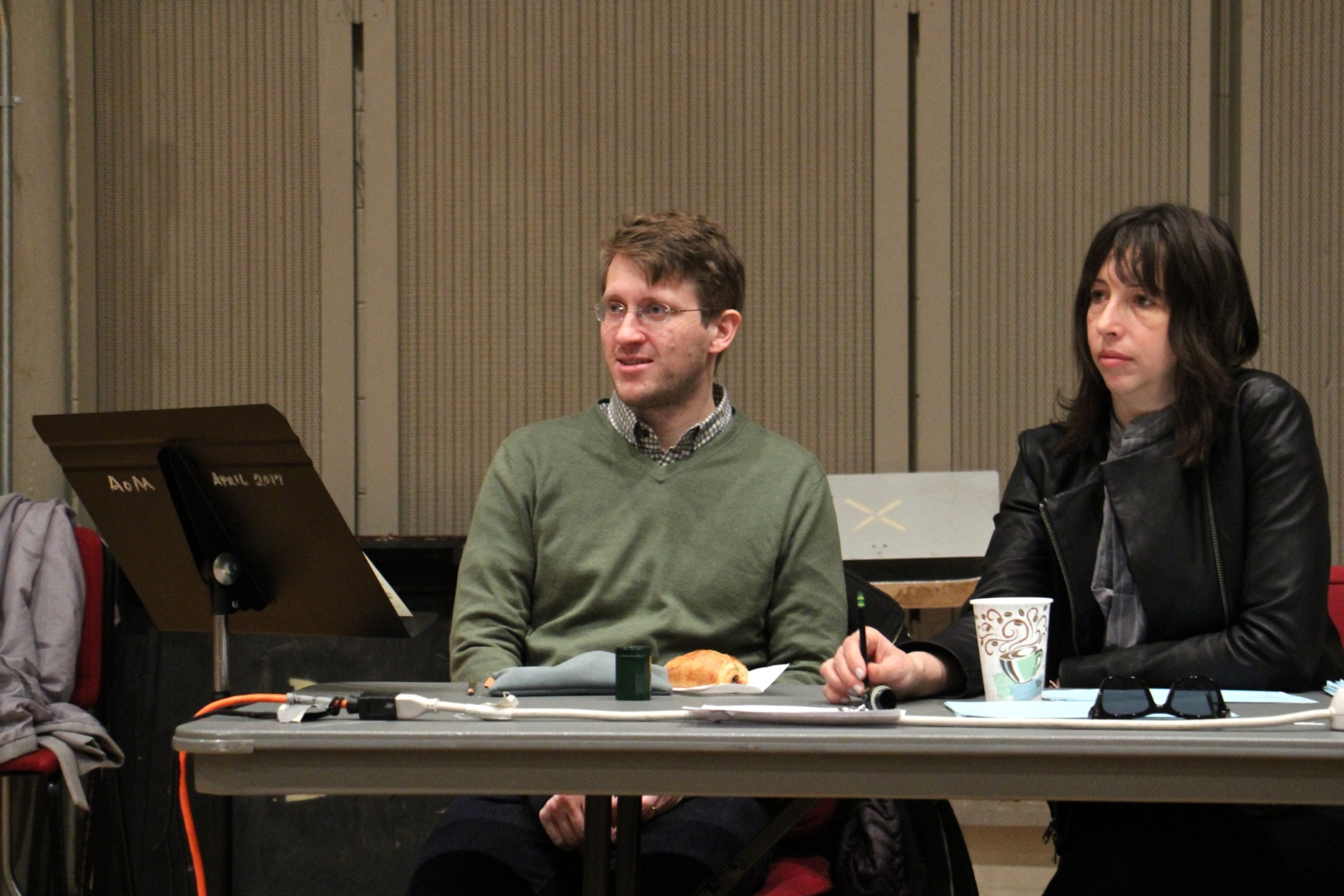 "Composer Lembit Beecher and director Joanna Settle watch a workshop of the new opera ""Sky on Swings."""