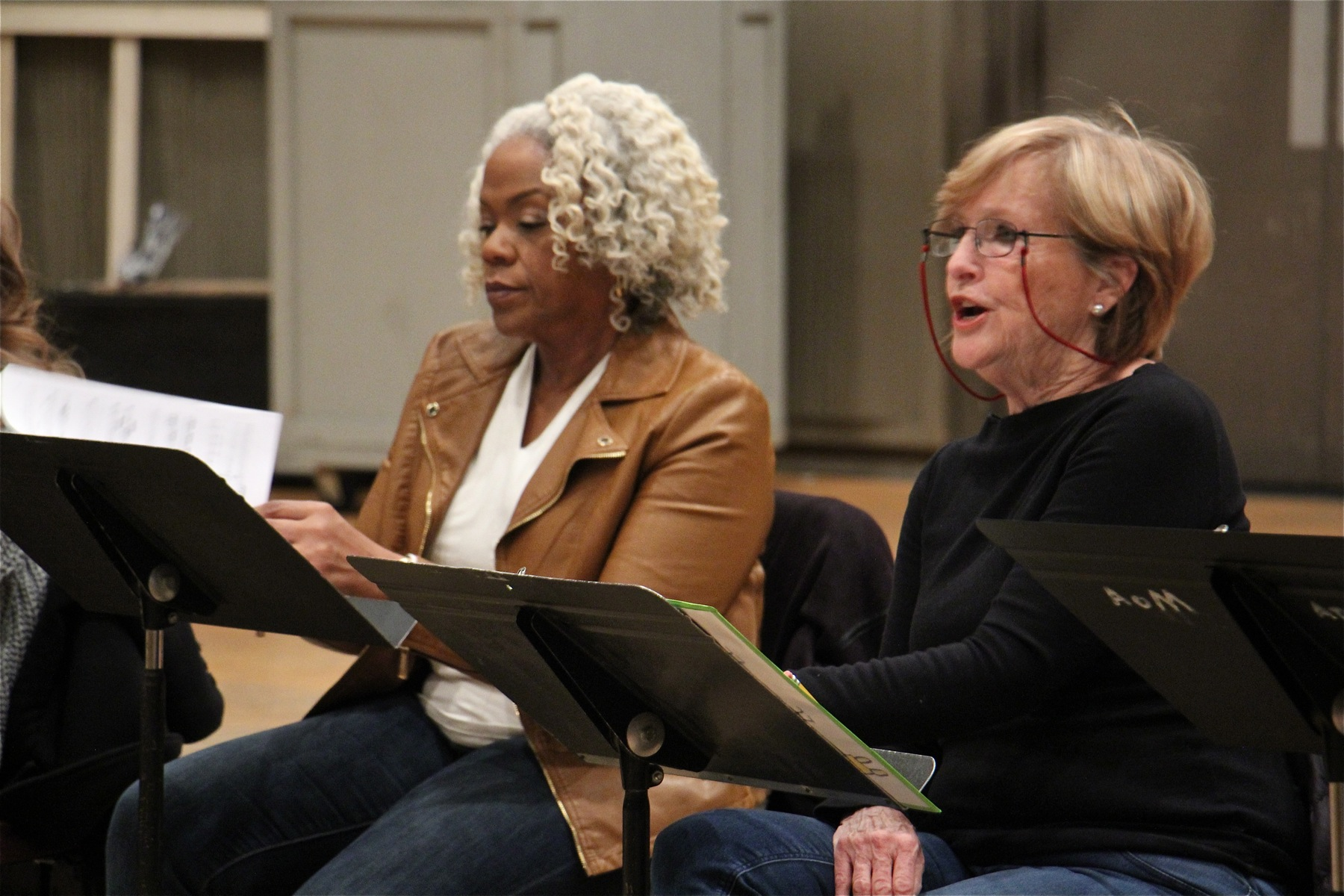 "Marietta Simpson (left) and Frederica von Stade portray two women with Alzheimer's disease who fall in love in Opera Philadelphia's ""Sky on Swings."""