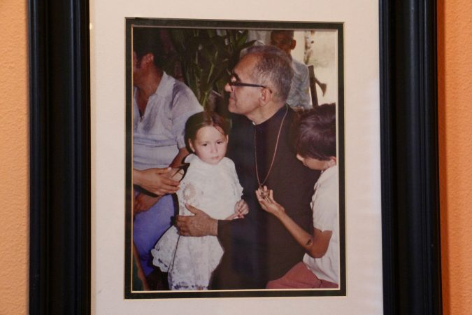 A photograph of Oscar Romero that was used for the mural at the Romero Center in Camden. (Emma Lee/WHYY)