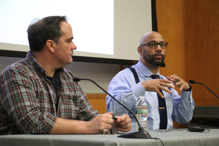 Joe Schrank (left) ,program director of High Sobriety, and Devin Reaves, director of the Pennsylvania Harm Reduction Coalition, answer questions about medical marijuana and opioid addiction during a program at the University of the Sciences.