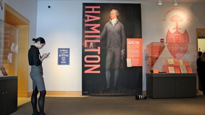 The Hamilton exhibit is located in the Annenberg Gallery, but story stations will highlight Hamilton's role in the center's permanent exhibits. (Emma Lee/WHYY)