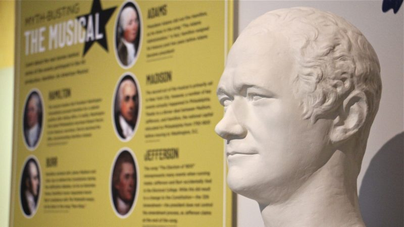 A bust of Alexander Hamilton by Joseph Lanelli is similar to one that Thomas Jefferson displayed in his Virginia home. The exhibit references the hit musical,