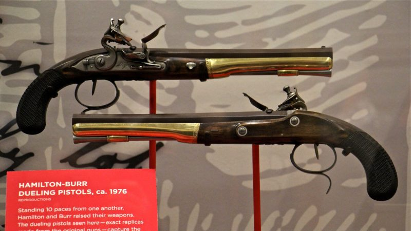 Replicas of the pistols used by Alexander Hamilton and Aaron Burr in their fatal duel. (Emma Lee/WHYY)