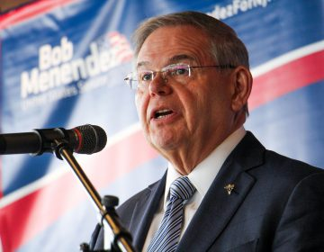U.S. Sen. Bob Menendez launches his re-election campaign with a stop at Rowan College at Gloucester in Southern New Jersey. (Emma Lee/WHYY)