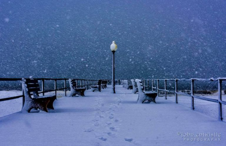 Snow falling early Tuesday morning at the Ocean Grove pier. (Image: John Entwistle Photography )