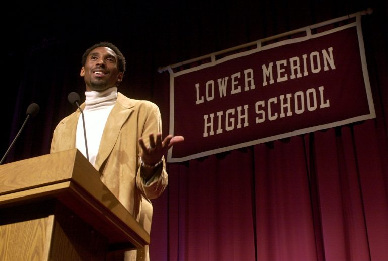 Los Angeles Lakers' Kobe Bryant speaks at Lower Merion High School in Ardmore, Pa., Saturday, Jan. 26, 2002, where Bryant's high school jersey number, 33, was retired during a ceremony.