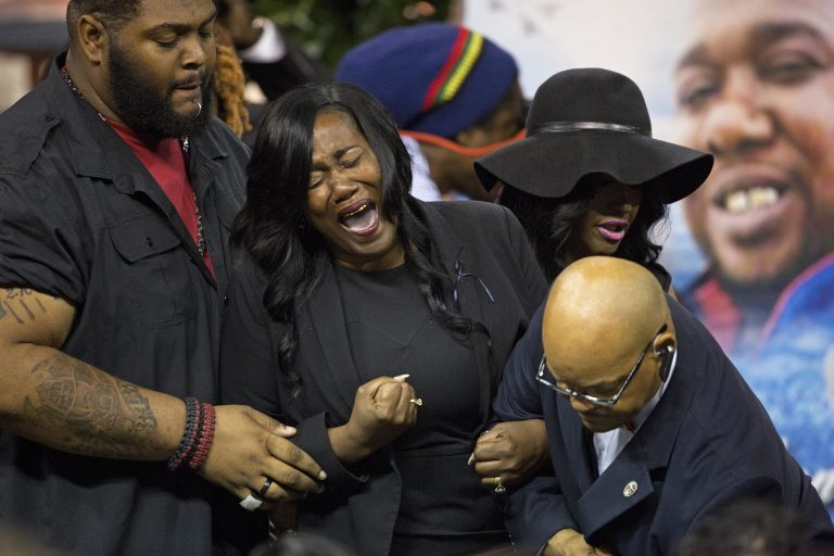 Sandra Sterling, the aunt of Alton Sterling cries out after viewing his body at the F.G. Clark Activity Center in Baton Rouge, La., Friday, July 15, 2016. Alton Sterling was shot July 5 outside a Baton Rouge convenience store in an encounter with police that was caught on video.