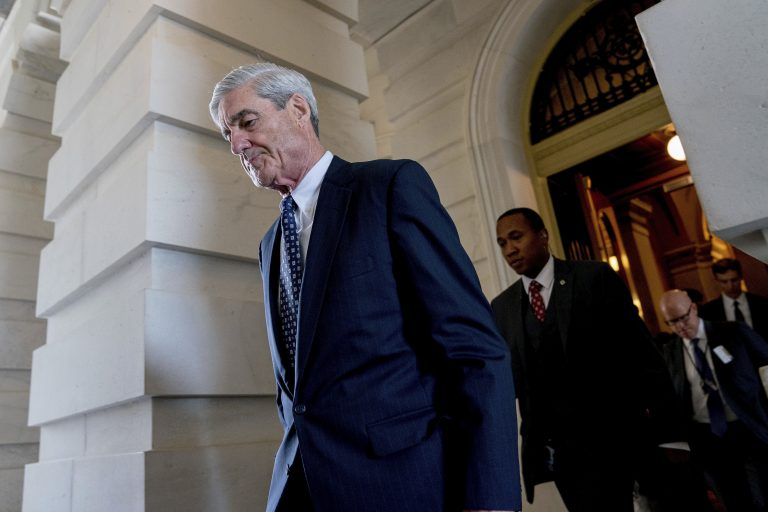 In this June 21, 2017, file photo, former FBI Director Robert Mueller, the special counsel probing Russian interference in the 2016 election, departs Capitol Hill following a closed door meeting in Washington.  (AP Photo/Andrew Harnik, File)