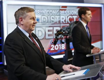 Republican Rick Saccone, left, and Democrat Connor Lamb before the taping of their first debate in the special election in the Pa., 18th Congressional District at the KDKA TV studios, Monday, Feb. 19, 2018, in Pittsburgh. The debate was recorded in the afternoon and scheduled to be broadcast at 7 PM Monday.