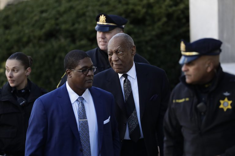 Bill Cosby winks as he arrives for a pretrial hearing in his sexual assault case at the Montgomery County Courthouse, Tuesday, March 6, 2018, in Norristown, Pa. (Matt Slocum/AP Photo)