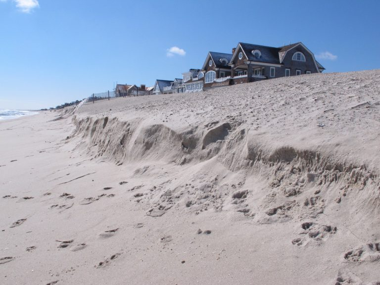 A beach is eroded Thursday, March 8, 2018, in Mantoloking, N.J. a day after the second coastal storm in less than a week hit the area. (AP Photo/Wayne Parry)