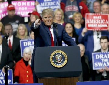 President Donald Trump reacts to the crowd while speaking at a campaign rally for Republican Rick Saccone in a hangar, Saturday, March 10, 2018, in Moon Township, Pa. Saccone is running against Democrat Conor Lamb in a special election being held on March 13 for the Pennsylvania 18th Congressional District vacated by Republican Tim Murphy.