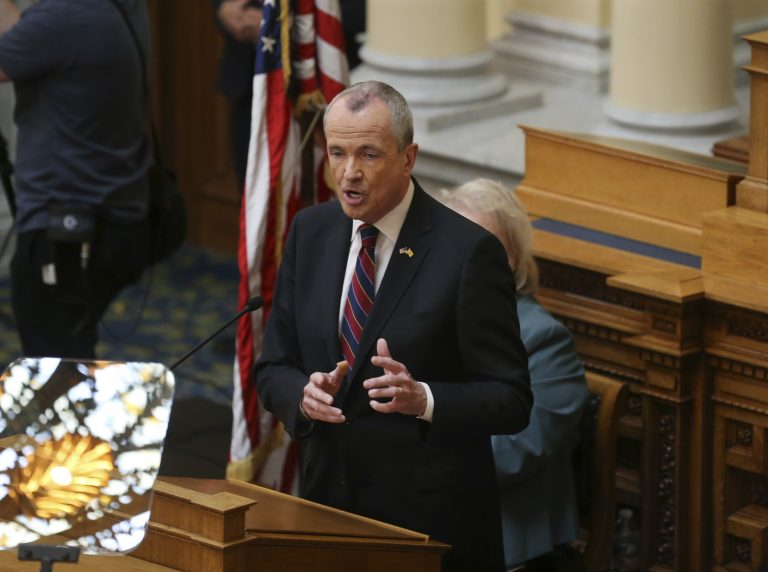 New Jersey Gov. Phil Murphy addresses a gathering as he unveils his 2019 budget Tuesday, March 13, 2018, in the Assembly chamber of the Statehouse in Trenton, N.J. Some of the first-term Democratic governor's proposals are to raise the state sales tax and extend its reach, hike income taxes on the wealthy and legalize recreational marijuana. (Mel Evans/AP Photo)